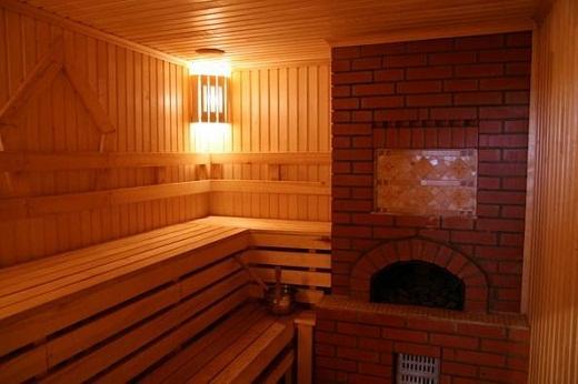 Вариант установки дровяной печи в бане на фото