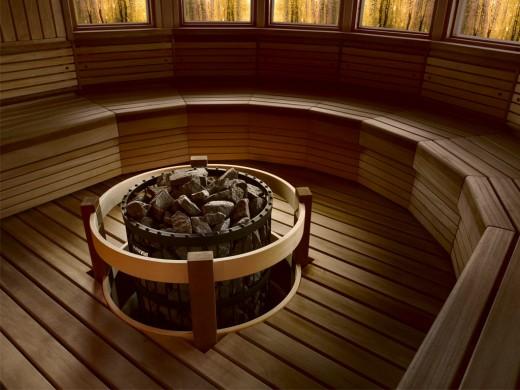 Финская печь Harvia в сауне показана на картинке