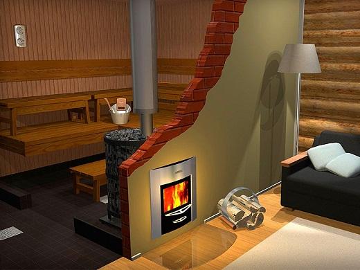 На фото дровяная печь для бани