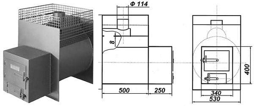 Печь-каменка металлическая квадратная на фото