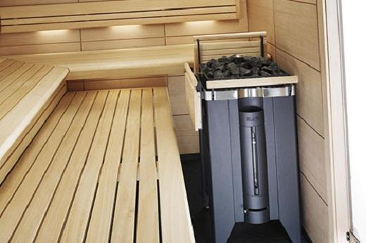 На фото электрическая печь для бани с парогенератором