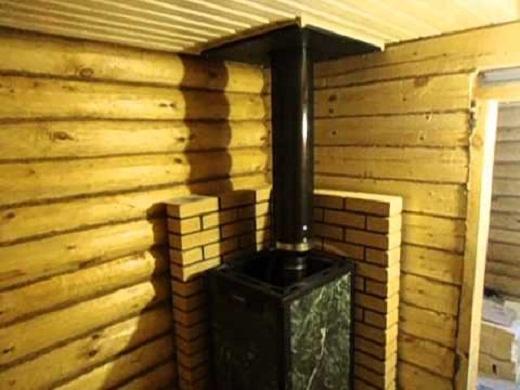 Печь Везувий, установленная в бане, на снимке