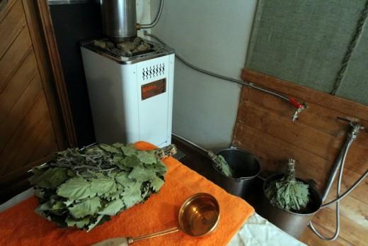 Печь Теплодар в бане на снимке