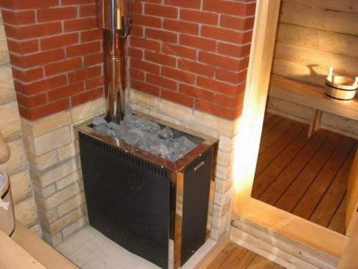 На фотографии показана печь-каменка фирмы Теплодар