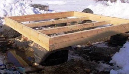 На фото представлен фундамент из покрышек под баню