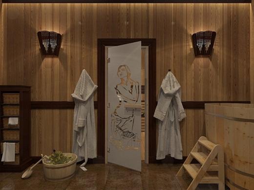 Стеклянная дверь в баню, с нанесенным на нее декоративным рисунком