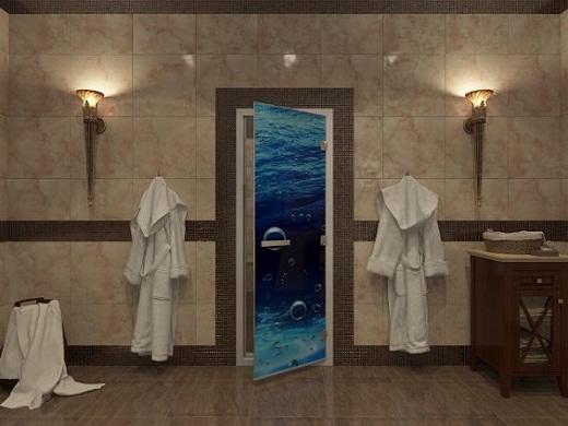 На снимке стеклянная дверь для турецкой бани