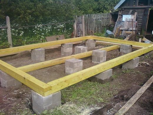 На фото столбчатый фундамент для бани