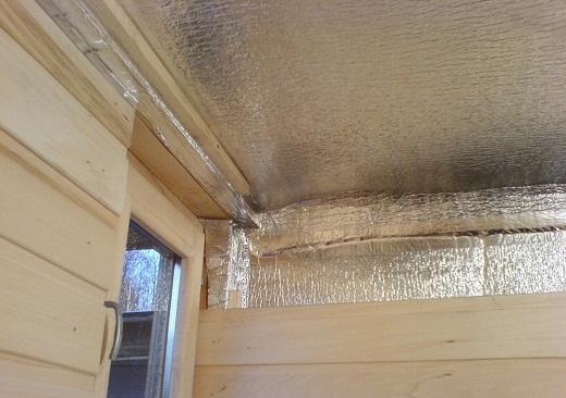 На снимке пример утепления потолка бани внутри