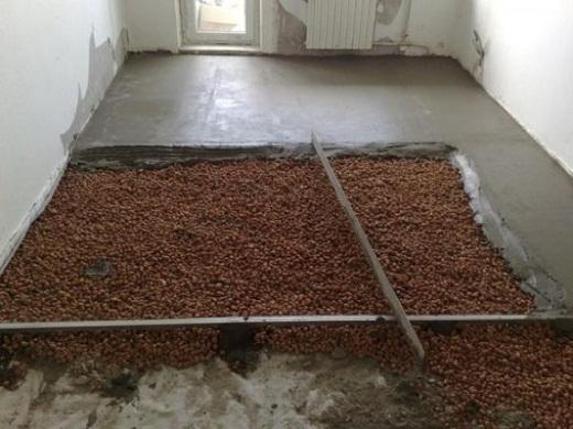 Утепление бетонного пола в бане керамзитом