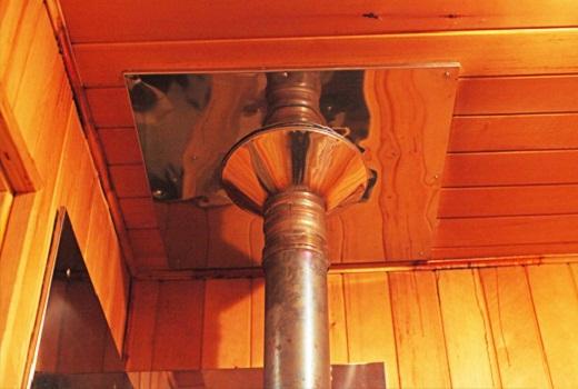 На фото пример дымохода  бане
