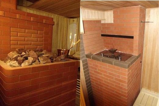 На фото вид кирпичной печи со стороны парной (слева печь с встроенной каменкой, справа печь с встроенным парогенератором)