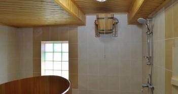 На фото баня с обливным ведром на стене