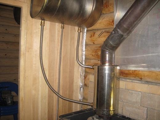 На фото представлен теплообменник, установленный на дымоходной трубе