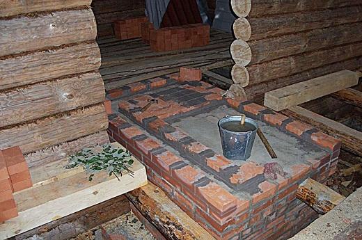 Подготовка фундамента для печи в баню, на фото